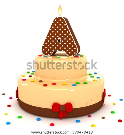 """3d cute letter """"A"""" rendering colorful with chocolate birthday cake alphabet with sweet polka dot candle and decorate red ribbon isolated over white background - stock photo"""