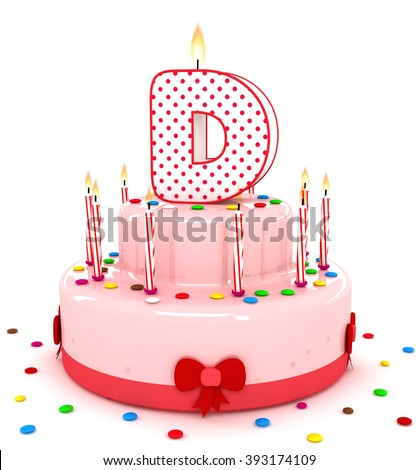 "3d cute letter ""D"" rendering colorful birthday cake alphabet with sweet candle and decorate ribbon  isolated over white background"
