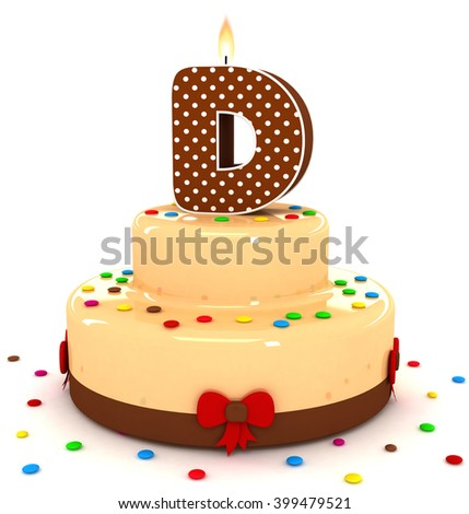 """3d cute letter """"D"""" rendering colorful with chocolate birthday cake alphabet with sweet polka dot candle and decorate red ribbon isolated over white background - stock photo"""