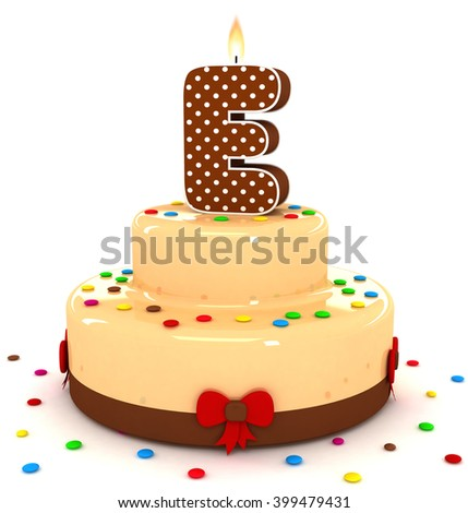"""3d cute letter """"E"""" rendering colorful with chocolate birthday cake alphabet with sweet polka dot candle and decorate red ribbon isolated over white background - stock photo"""
