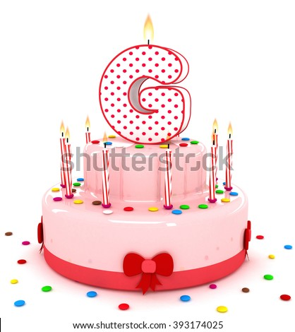 """3d cute letter """"G"""" rendering colorful birthday cake alphabet with sweet candle and decorate ribbon  isolated over white background - stock photo"""