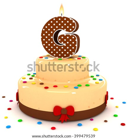 "3d cute letter ""G"" rendering colorful with chocolate birthday cake alphabet with sweet polka dot candle and decorate red ribbon isolated over white background"