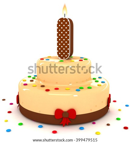 """3d cute letter """"I i"""" rendering colorful with chocolate birthday cake alphabet with sweet polka dot candle and decorate red ribbon isolated over white background - stock photo"""
