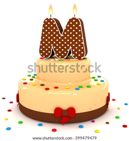 """3d cute letter """"M"""" rendering colorful with chocolate birthday cake alphabet with sweet polka dot candle and decorate red ribbon isolated over white background - stock photo"""