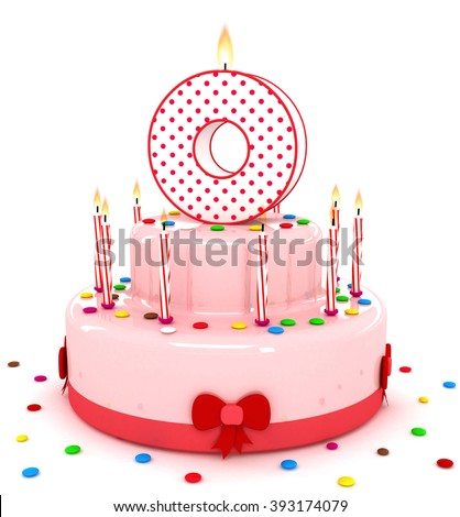 "3d cute letter ""O"" rendering colorful birthday cake alphabet with sweet candle and decorate ribbon  isolated over white background"