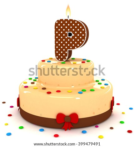 "3d cute letter ""P"" rendering colorful with chocolate birthday cake alphabet with sweet polka dot candle and decorate red ribbon isolated over white background"