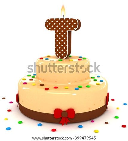 """3d cute letter """"T"""" rendering colorful with chocolate birthday cake alphabet with sweet polka dot candle and decorate red ribbon isolated over white background - stock photo"""