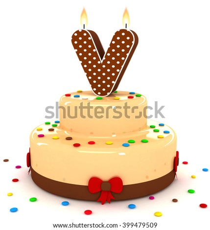 "3d cute letter ""V"" rendering colorful with chocolate birthday cake alphabet with sweet polka dot candle and decorate red ribbon isolated over white background"