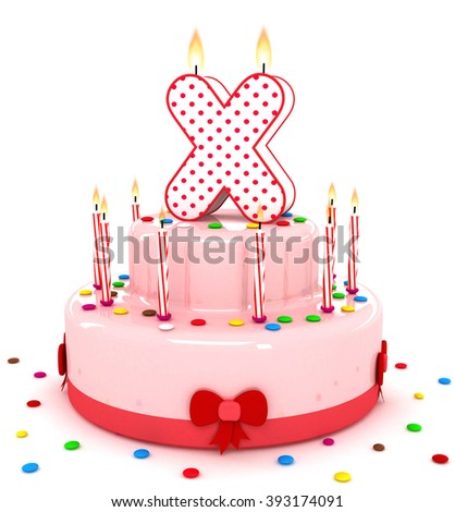"""3d cute letter """"X"""" rendering colorful birthday cake alphabet with sweet candle and decorate ribbon  isolated over white background - stock photo"""