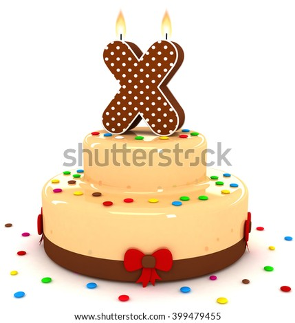 """3d cute letter """"X"""" rendering colorful with chocolate birthday cake alphabet with sweet polka dot candle and decorate red ribbon isolated over white background - stock photo"""