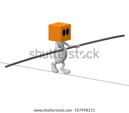 3d cute little people walking on the wire - stock photo