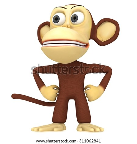 3d cute monkey with arms akimbo. 3D render isolated on white.