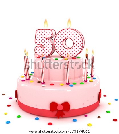 """3d cute number """"50"""" fifty rendering colorful birthday cake  year with sweet candle and decorate ribbon  isolated over white background - stock photo"""
