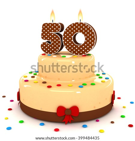3d cute number 50 fifty rendering colorful with chocolate birthday cake with sweet polka dot number year brown candle and decorate red ribbon isolated over white party background - stock photo
