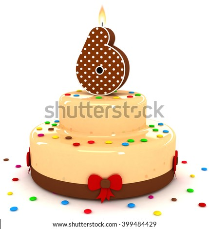3d cute number 6 six rendering colorful with chocolate birthday cake with sweet polka dot number year brown candle and decorate red ribbon isolated over white party background - stock photo