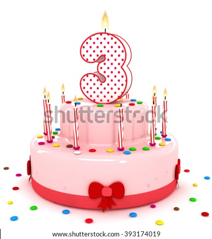 """3d cute number """"3""""  three rendering colorful birthday cake  year with sweet candle and decorate ribbon  isolated over white background - stock photo"""