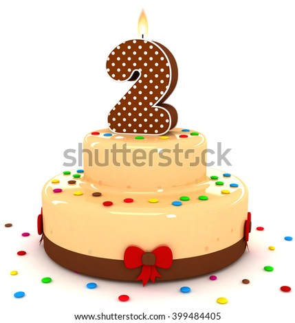 3d cute number 2 two rendering colorful with chocolate birthday cake with sweet polka dot number year brown candle and decorate red ribbon isolated over white party background - stock photo