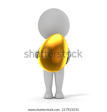 3d cute people - holding golden easter egg isolated white background with clipping path - stock photo