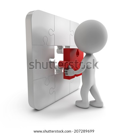 3d cute people -  last piece of puzzle (jigsaw) isolated white background - stock photo