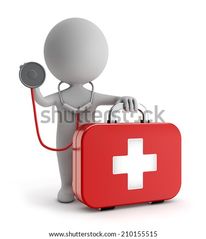 3d cute people - standing first-aid kit and holding stethoscope isolated white backgorund