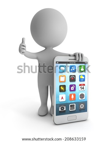 3d cute people - standing white smartphone isolated white backgorund with clipping path - stock photo