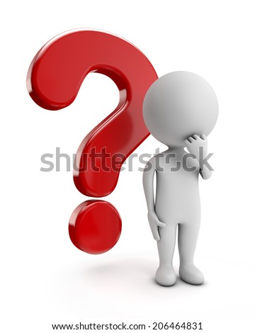 3d cute people - thinking with red question mark isolated white background - stock photo