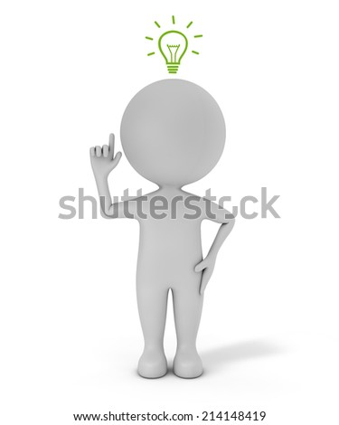 3d cute people - with light bulb idea concept isolated white background with clipping path