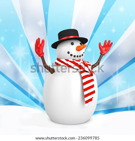 3d cute snowman with hat on winter snowflakes background