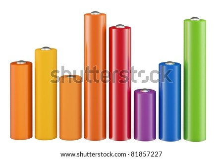 3d cylindrical graph bars   isolated on white background - stock photo