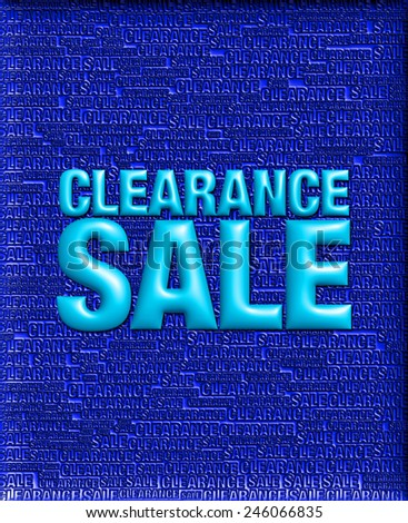 3D dark blue background of Clearance Sale with emboss blue text on background   - stock photo