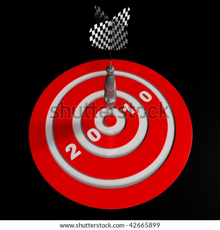 3D Dart Hitting Target - stock photo