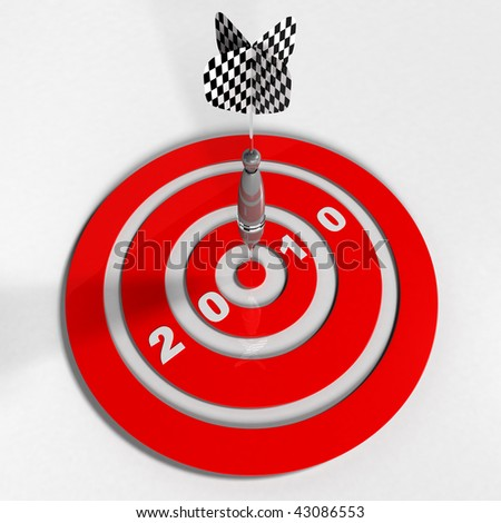 3D Dart Hitting Target - white background - stock photo
