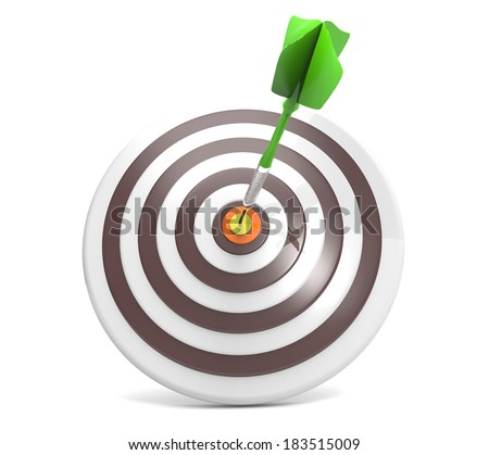 3D dart right on the target center  - stock photo