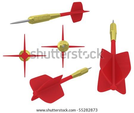 3D dart views - stock photo