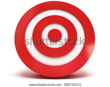 3d darts aim target isolated on white back. Win, sport, business concept. High resolution render. Template for your design. - stock photo