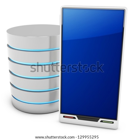 3d database server with mobile smartphone on white background
