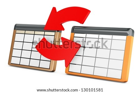 3d database tables on white background - stock photo