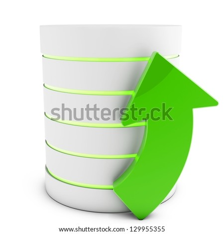 3d database with uploading symbol arrow isolated on white background - stock photo