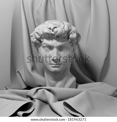 3d David portrait, head still life with drapery, classic antique sculpture object  - stock photo