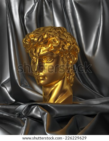 3d David portrait, head still life with drapery, gold classical antique sculpture object - stock photo