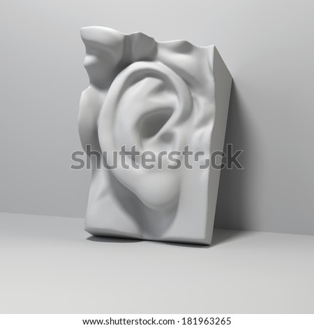 3d David sculpture ear detail, classical drawing anatomy object - stock photo