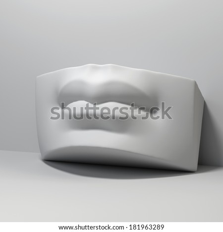 3d David sculpture lips detail, classical drawing anatomy object - stock photo