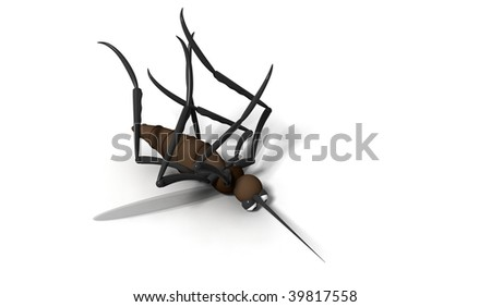 3d dead mosquito on white background - stock photo