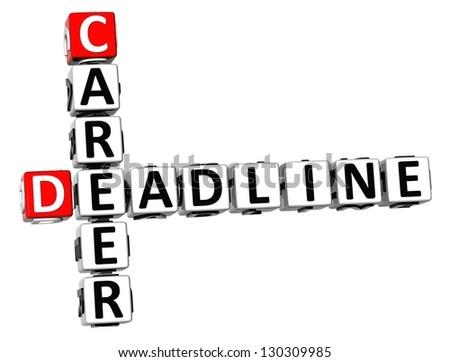 3D Deadline Career Crossword on white background - stock photo