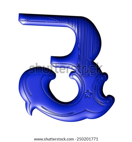 3D decorative digit number 3 with floral ornament on isolated white background.