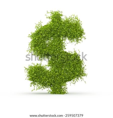 3d decorative nature dollar sign - stock photo
