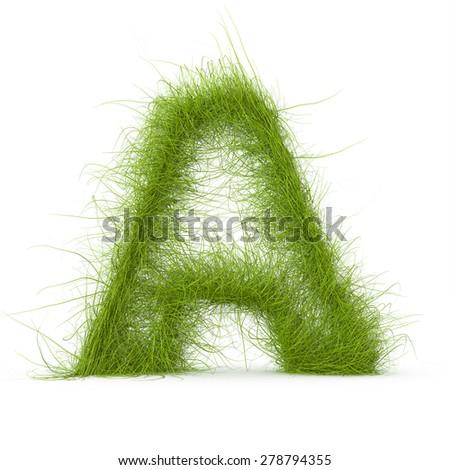 3d decorative nature letter A - stock photo