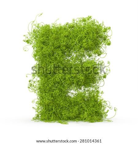 3d decorative nature letter E - stock photo