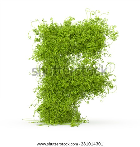 3d decorative nature letter F - stock photo