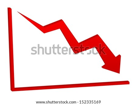 3D decreasing red arrow on the chart - stock photo